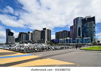 MELBOURNE, VIC, AUSTRALIA 03: Boats and new buildings in Dockland district, modern architecture, on November 03, 2017 in Melbourne, Australia