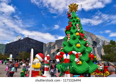 Melbourne, VIC / Australia - December 09 2015: Lego Christmas tree and Santa Claus at Federation Square for celebration