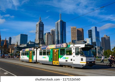 Melbourne, VIC / Australia - February 03 2015: Tram network, the public transport in Melbourne