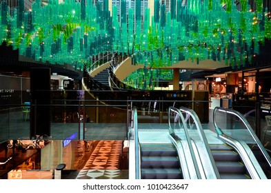 MELBOURNE, VIC, AUSTRALIA - NOVEMBER 03: Inside St. Collins Lane, a shopping mall with different shops, cafe's and restaurants in the capital of Victoria, on November 03, 2017 , Melbourne, Australia