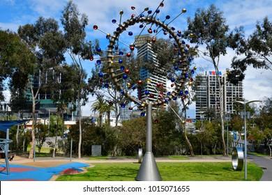MELBOURNE, VIC, AUSTRALIA - NOVEMBER 03: Artwork named Blowhole by Duncan Stemler in Dockland park on Harbour Esplanade, on November 03, 2017 in Melbourne, Australia