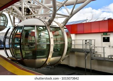 MELBOURNE, VIC, AUSTRALIA - NOVEMBER 03: Transport cabin of Melbourne Star an observation wheel and tourist attraction in Docklands district, on November 03, 2017 in Melbourne, Australia