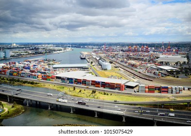 MELBOURNE, VIC, AUSTRALIA - NOVEMBER 03: Harbor and container shipping docks in Docklands district on Yarra river, on November 03, 2017 in Melbourne, Australia