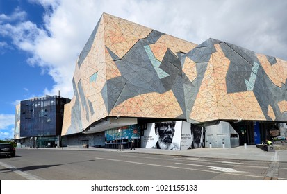 MELBOURNE, VIC, AUSTRALIA - NOVEMBER 03: Federation Square, building and entertainment complex on Flinders street in the capital of Victoria, on November 03, 2017 in Melbourne, Australia