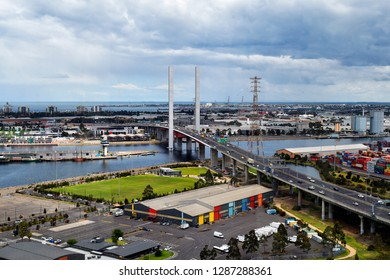 MELBOURNE, VIC, AUSTRALIA - NOVEMBER 03: Aerial view to Bolte bridge, harbor and container shipping docks in Docklands district on Yarra river on November 03, 2017 in Melbourne, Australia