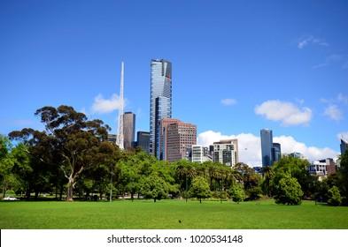 MELBOURNE, VIC, AUSTRALIA - NOVEMBER 04: Skyline with Euraka tower, spire of Arts Center Melbourne and other buildings, on November 04, 2017 in Melbourne, Australia