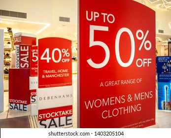 Melbourne, VIC Australia-June 27th 2018: Sign of discount in Debenhams department store in St Collins Lane shopping centre,