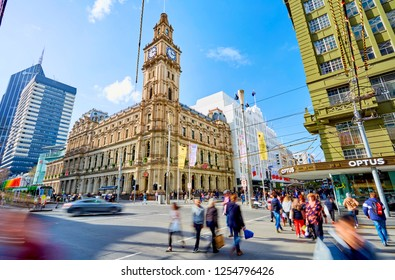 Melbourne, VIC/Australia - December 11th 2018. Busy Bourke St Mall featuring GPO, H&M and shoppers on Elizabeth St.