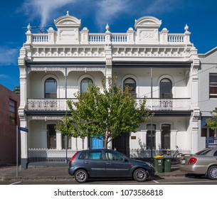 Melbourne, VIC/Australia-April 21st 2018: Old Victorian semi-detached houses in inner suburb.