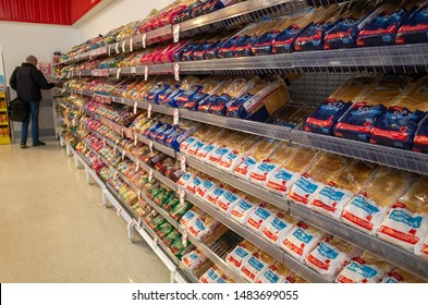 Melbourne, VIC/Australia-August 17th 2019: bread of different brands displayed on supermarket shelf for customers to choose.