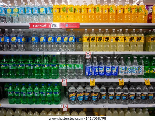 Melbourne, VIC/Australia-August 18th 2018: a variety of soft drinks in different brands placed on supermarket shelf for customer to choose.