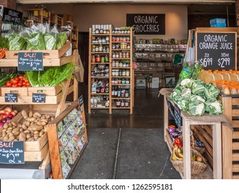 Melbourne, VIC/Australia-Dec 19th 2018: an organic grocery store in South Melbourne Market