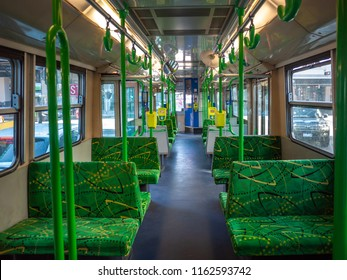 Melbourne, VIC/Australia-July 17th 2018: interior of a tram. Melbourne's tram network, operated by Yarra Trams, is one of the largest tram networks in the world