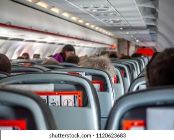 Melbourne, VIC/Australia-June 15th 2018: interior of Jetstar airplane Airbus A320.