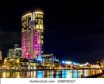 Melbourne, VIC/Australia-May 10th 2018: Crown Casino tower building at Southbank.