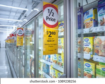 Melbourne, VIC/Australia-May 13th 2018: discount price tag on frozen food cabinet in Coles supermarket