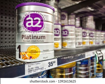 Melbourne, VIC/Australia-May 3rd 2019: A2 Baby formula placed on supermarket shelf.