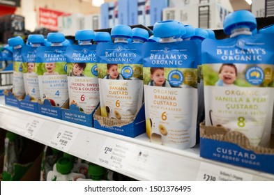 Melbourne, VIC/Australia-Sept 2nd 2019: Bellamy's Organic baby food packages in different flavours on supermarket shelf.