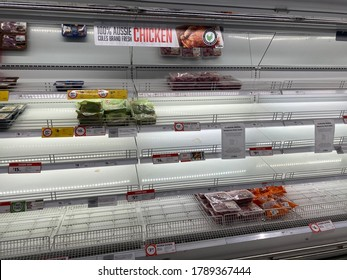 Melbourne, Victoria – 4th August 2020: meat and poultry supply shortage after meat processing plants closed during the coronavirus Covid-19 pandemic in Melbourne. Melbourne is in stage 4 lock down.