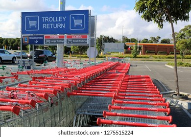 Melbourne Victoria Australia 01/06/2019. Coles & Aldi shopping trolleys Casey Central Shopping Centre.   Coles recently spun off Westfarmers as separate company.  Aldi owned by German Co. Albrecht