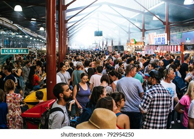 Melbourne, Victoria / Australia - 01/10/2018: Anonymous crowd at bustling night market
