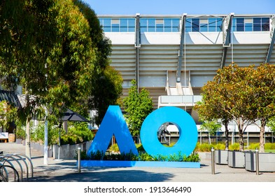 Melbourne, Victoria, Australia - 02.10.2021: The Australian Open logo in large block letters in the forecourt of Olympic Park during the Australia Open Grand Slam tournament.