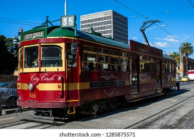 MELBOURNE, VICTORIA, AUSTRALIA - 21 MAY 2012: Historic W Class in the distinct livery the popular City Circle tram that carries tourists for free in a loop around Melbourne's CBD.