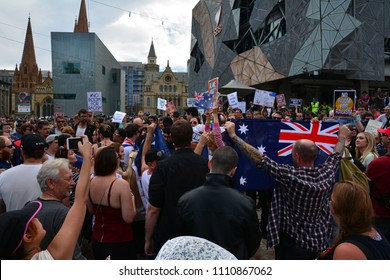 Melbourne, Victoria / Australia - April 04 2015: Protest against racism and racists in Melbourne