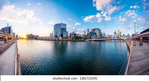 Melbourne, Victoria / Australia - April 24th 2019 : Lovely Panoramic Sunset Scenery Over Yarra River and Melbourne CBD Cityscape with Great Sky