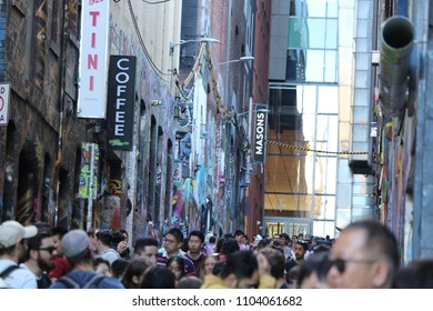 Melbourne, Victoria / Australia - April 9 2018: A busy day in Melbourne at Hosier Lane.