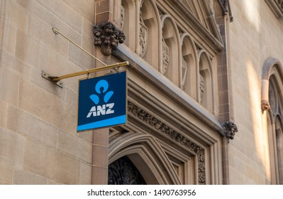 Melbourne, Victoria / Australia - August 29, 2019: An ANZ sign on an historic building on Collins Street in Melbourne.