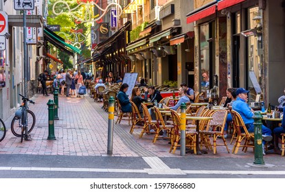 Melbourne, Victoria, Australia, December 21, 2019: Hardware Lane in Melbourne, Australia is a popular tourist area filled with cafes and restaurants featuring al fresco dining.
