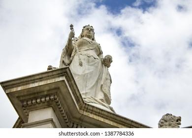 Melbourne, Victoria Australia. February 11th, 2019. Monument statue to Queen Victoria in Kings Domain Park near the Shrine of Remembrance,