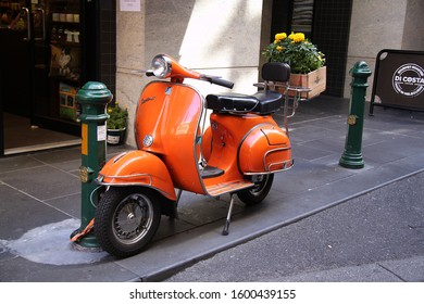 Melbourne, Victoria AUSTRALIA - February 2, 2018: Orange Vespa Parked on a City Laneway
