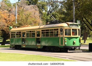 Melbourne, Victoria AUSTRALIA - February 4, 2018: Green City Circle Tram