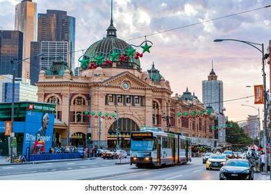 Melbourne, Victoria / Australia - Jan 01 2018: Flinders Street Railway Station
