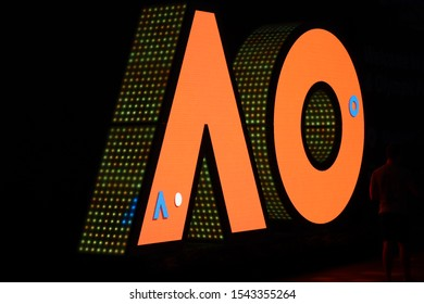 Melbourne, Victoria, Australia, January 23 2019: A O logo letters yellow, orange and blue led lights at the Australian open tennis tour at night