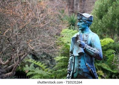 Melbourne, Victoria, Australia - July 15 , 2017 : Fitzroy Gardens , Captain Cook's Statues.