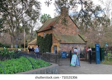 Melbourne, Victoria, Australia - July 15 , 2017 : Fitzroy Gardens , Captain Cook's Cottage.