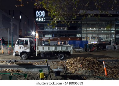 Melbourne, Victoria / Australia - June 06 2019: The ABC's Southbank Centre in Melbourne at night.  The Australian Broadcasting Corporation (ABC) is Australia's national independent public broadcaster.