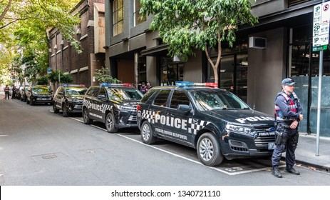 Melbourne, Victoria, Australia, March 16th, 2019: Victoria Police are attending a political rally and controlling a march through the city streets of Melbourne