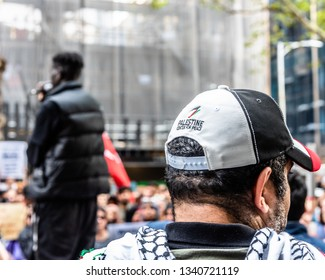 Melbourne, Victoria, Australia, March 16th, 2019: A sudanese speaker is addressing a political rally on a downtown city street