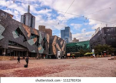 MELBOURNE, VICTORIA, AUSTRALIA - MAY 12, 2016: Iconic Pure Art Federation Square