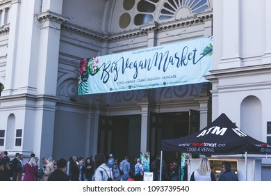 Melbourne, Victoria, Australia - May 13 2018: Big Vegan Market Event attracts crowd at Royal Exhibition Building