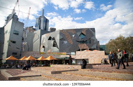 Melbourne, Victoria / Australia - May 13th 2019: Public outside SBS television broadcast building at Federation Square