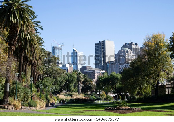 Melbourne, Victoria / Australia - May 23rd 2019: City buildings at Alexandria gardens during the morning