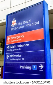 Melbourne, Victoria, Australia, May 5th, 2019: The Royal Melbourne Hospital sign with directions to emergency, parking, deliveries and the main entrance.