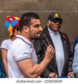 Melbourne, Victoria, Australia, November 10th, 2018: Political activist Avi Yemini is addressing the crowd at a vigil held for the victims of a terror attack in Bourke Street Melbourne.