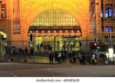 Melbourne , Victoria, Australia - October 28 , 2016 : Flinders Street Station , main transportation hub, place on bank of Yarra River.