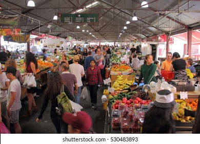 Melbourne , Victoria, Australia - October 29 , 2016 : Queen Victoria Market , fresh fruits and Vegetables zone one of the market zone in market.